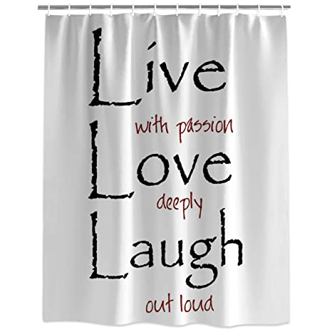 Image Unavailable Not Available For Color Extra Long Fabric Bath Shower Curtains Quote Decor Live Love Laugh