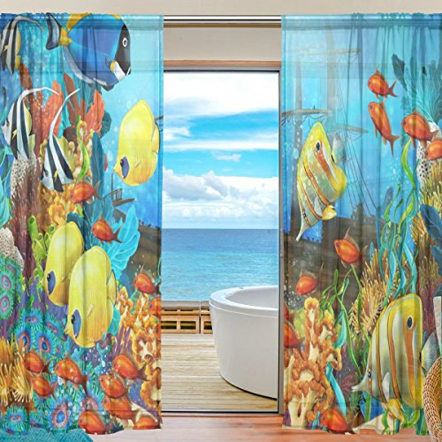 SEULIFE Window Sheer Curtain, Tropical Ocean Sea Fishes Voile Curtain Drapes for Door Kitchen Living Room Bedroom 55x78 inches 2 Panels -