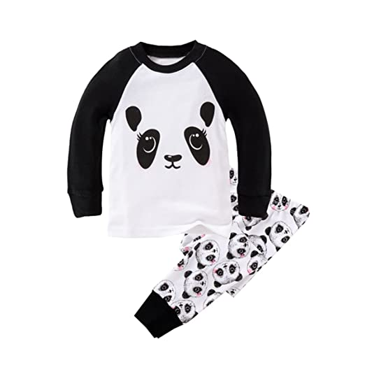 92d26af7ddbf Amazon.com  Boys Pajamas Cute Panda Childrens Pjs Kids Rib Long Sleeves  Cotton Clothes Set  Clothing