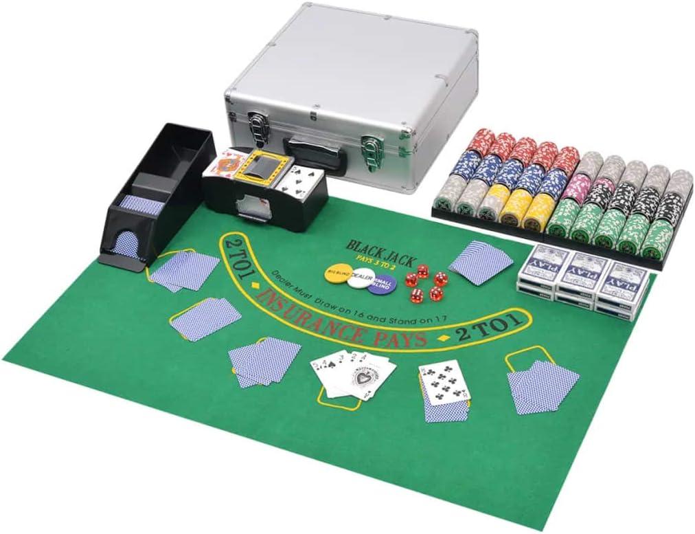 ghuanton Juego Combinado póker/Blackjack con 600 fichas láser aluminioJuegos y Juguetes Juegos Estuches y fichas de póquer: Amazon.es: Hogar