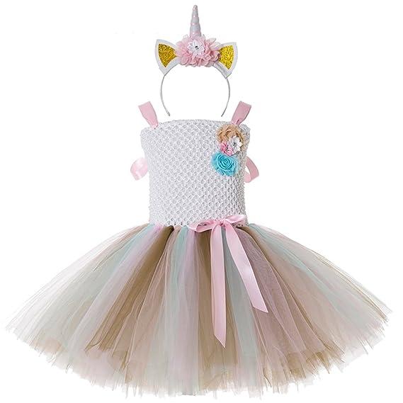 CIELARKO Vestitos de Princesa de Fiesta para niña Ceremonia con Diadema de Unicornio