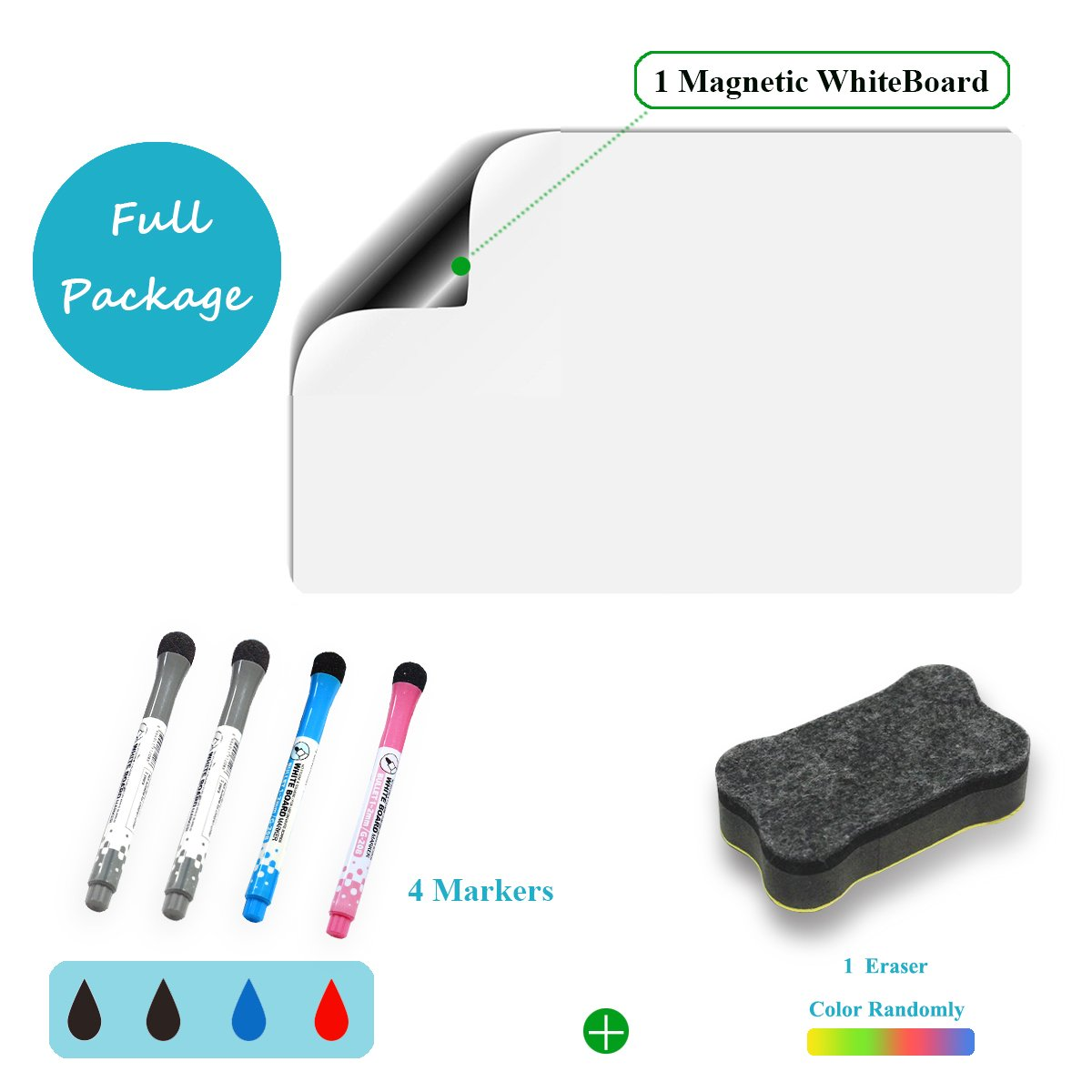 Sooard Magnetic Dry Erase Whiteboard/White Board Sticker for Smart Planners 16.5'' x 11.8'' A3 size & Accessories (Includes 1 Dry Erase Eraser & 4 Marker Pens with Magnets) Suitable for Fridge, Home