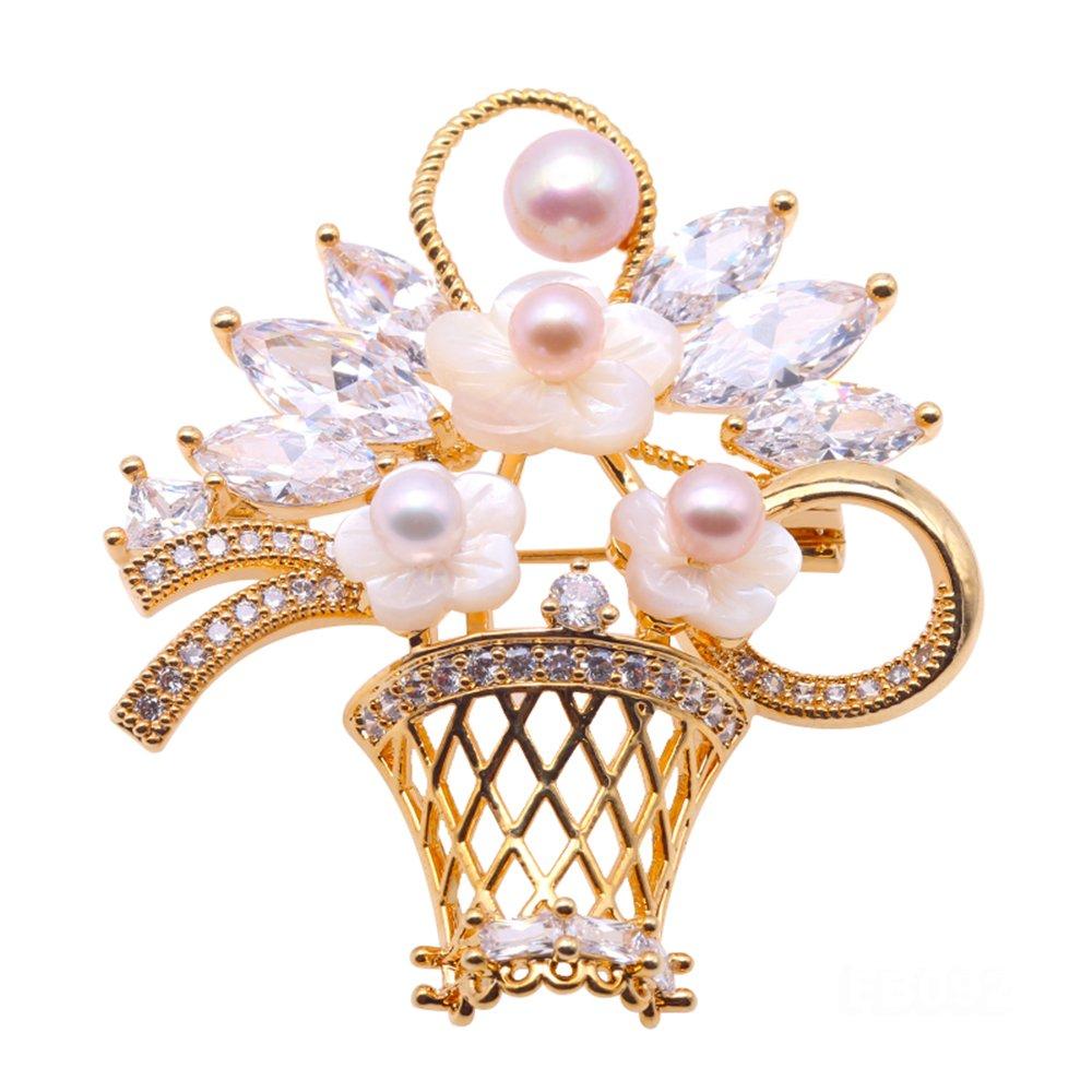 JYX Exquisite Flower Basket 5-7mm Multicolor Pearl Brooch Golden Tone