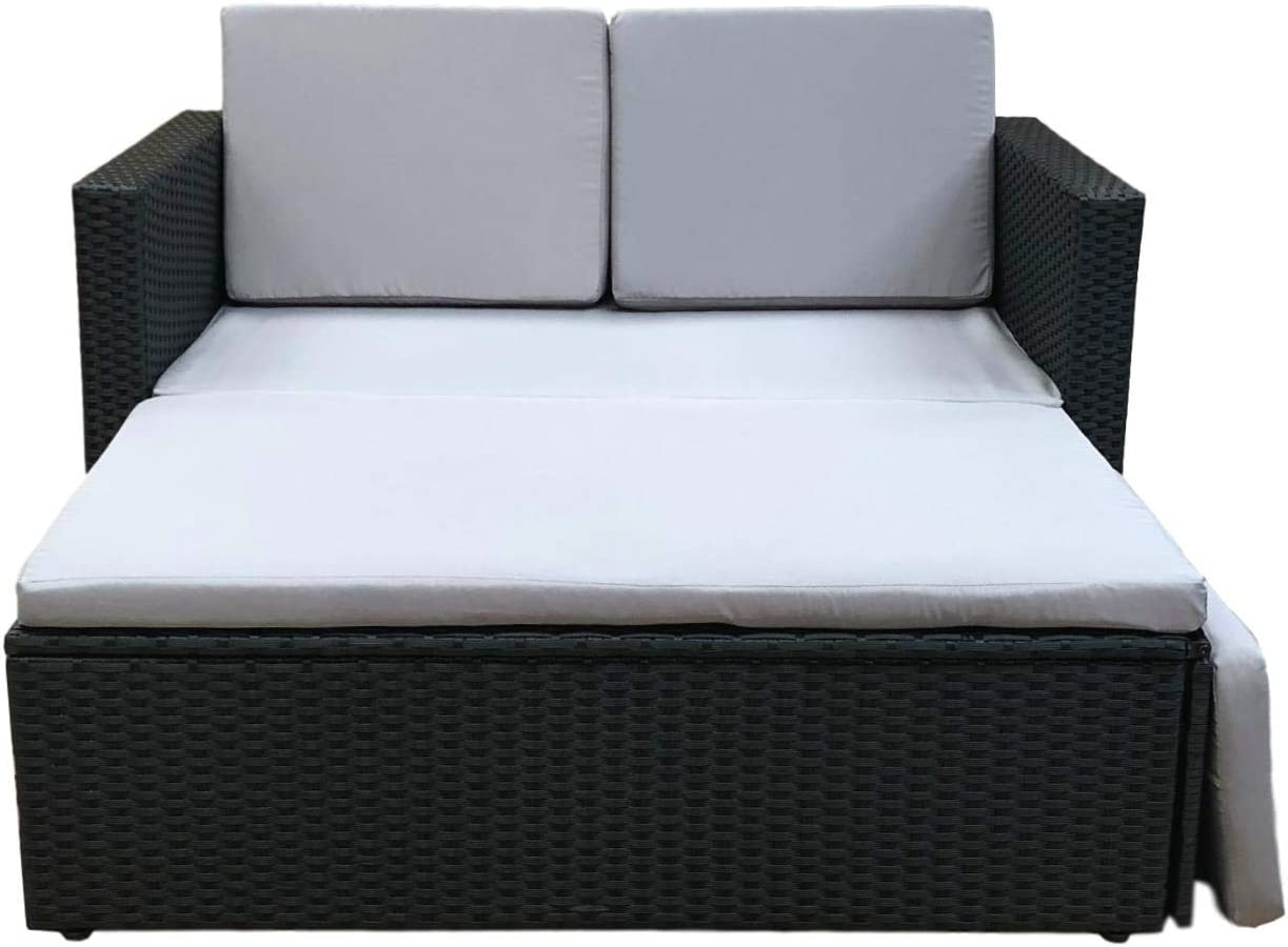 - Evre Outdoor Rattan Garden Love Bed Furniture Set Patio