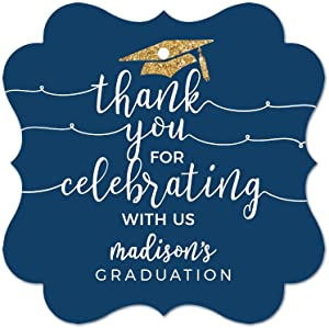 Andaz Press Navy Blue and Gold Glittering Graduation Party Collection, Personalized Fancy Frame Gift Tags, Thank You for Celebrating with US, 24-Pack, John's Graduation Custom Name