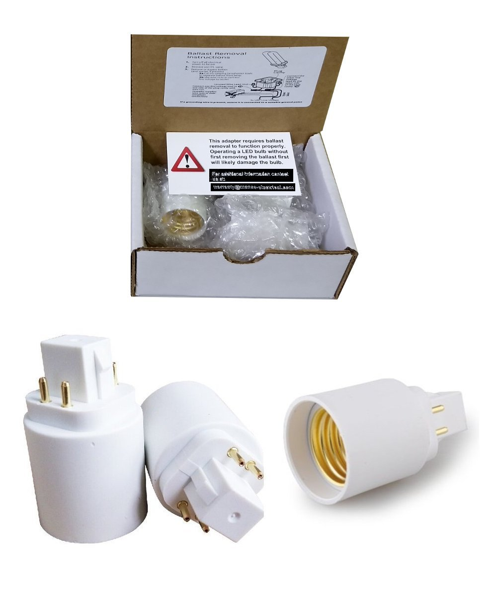 3 Pack, Mansa Lighting, G24q to Standard Base Adapters, Use This Adapter to Plug an E26 Bulb Into a PL Style G24 Fixture, Maximum Wattage Is 100W