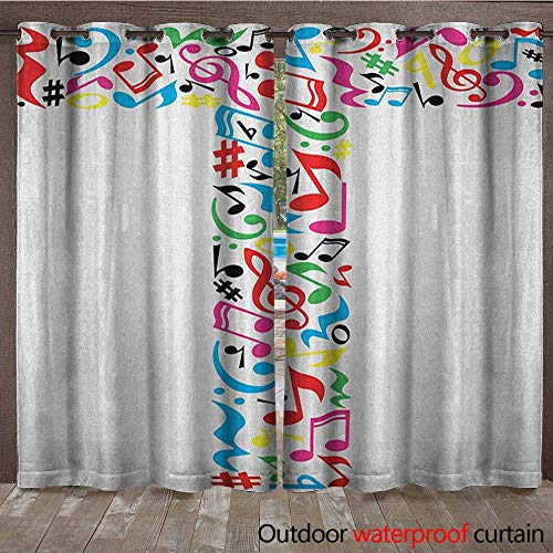 BlountDecor Letter T Door/Gazebo Curtain Uppercase T Letter Colorful Sheet Music Elements Font Alphabet Design Art StyleW108 x L96 Multicolor