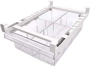 ALFEEL Pull-out Refrigerator Organizer Bins - Fridge Drawer Organizer with Handle, Refrigerator Shelf Holder Storage Box for Food Drinks, Fit for Fridge Shelf Under 0.6