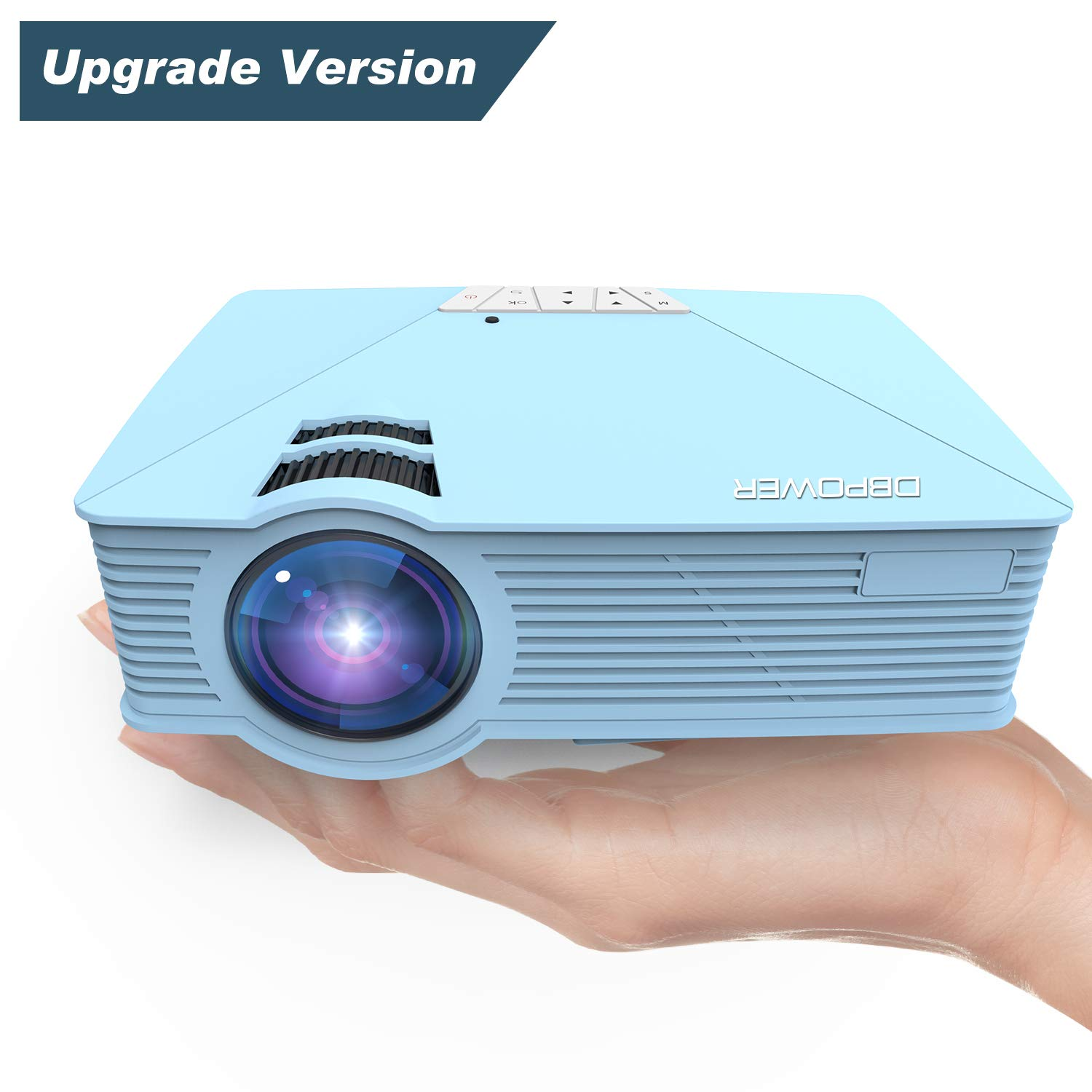 Mini Projector, DBPOWER GP15 +50% Brighter Portable LCD Mini Video Projectors,50000Hours Support 1080P HDMI USB SD Card VGA AV for Multimedia Home Cinema, Movie, TV, Laptops, Games, Smartphones, Blue