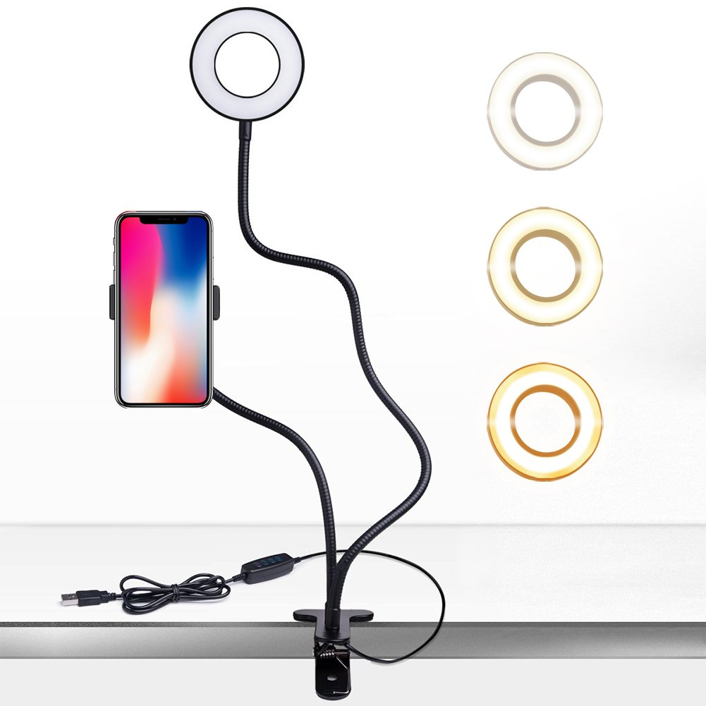 Cell Phone Holder Stand Lamp for Live Stream, Desk Clip LED Camera Selfie Ring Light for Android Phone iPhone 8 7 6 Plus X 6s
