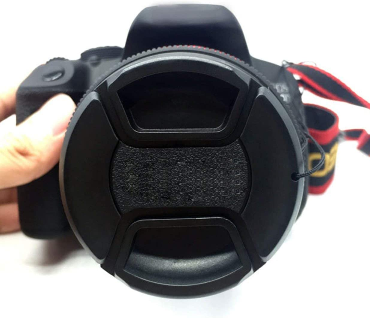 Professional 52mm Front Lens Hood Cap Cover for All Canon Lens Filter with Cord New Cap Cover Center Pinch Snap Black