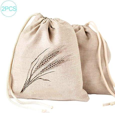 Cuttey - Bolsa de algodón orgánico, 2 Piezas, Bolsa de algodón orgánico, cordón de algodón, Bolsa de la Compra Verde: Amazon.es: Hogar
