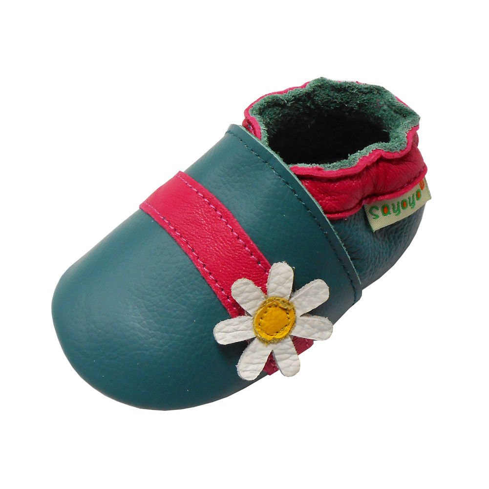 Sayoyo Baby Cute Flower Soft Sole Leather Infant Toddler Prewalker Shoes (Cyan,0-6 Months)