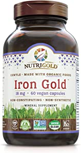 Nutrigold Organic Gentle Iron Supplement for Women & Men, Plant-Based, Whole-Food, Non-Constipating, Highly Bioavailable, Non-GMO, 18 Mg, 60 Vegan Capsules