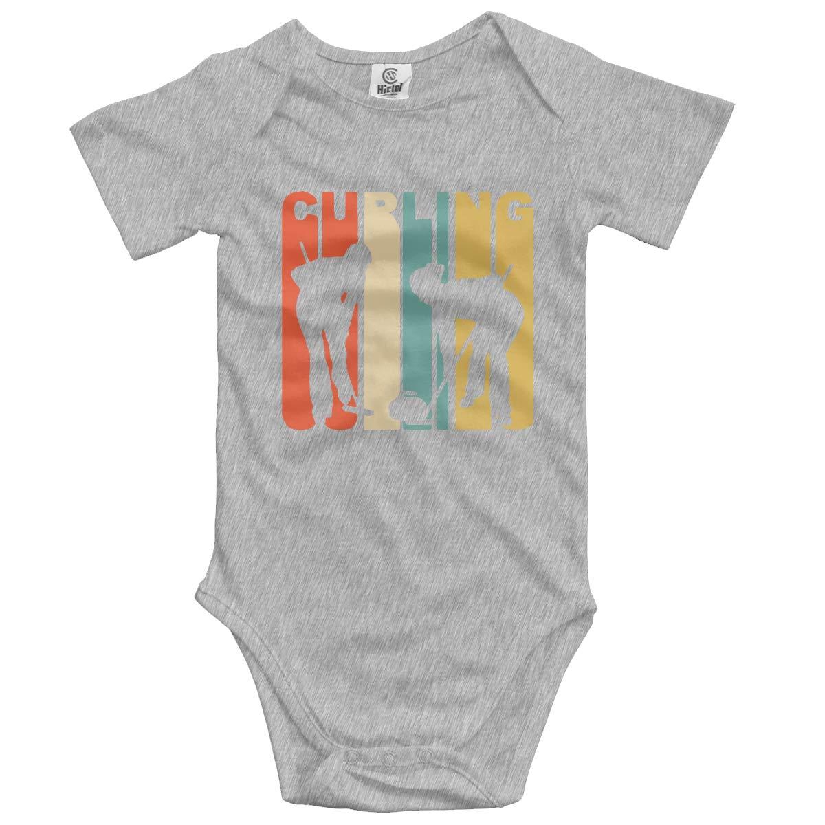 Retro 1970s Style Curlers Silhouette Curling Newborn Infant Toddler Baby Girls Boys Bodysuit Short Sleeve 0-24 MonthsBlack