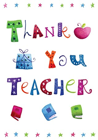 Pack of 6 thank you teacher cards amazon kitchen home pack of 6 thank you teacher cards voltagebd Choice Image