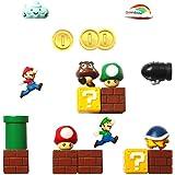 Seiorca Refrigerator Magnets, Super Mario Decorative Fridge Magnets Kitchen Kit, School Office Fun Decoration Whiteboard Magnet 19Pcs