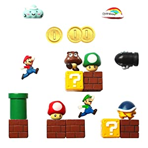Seiorca Refrigerator Magnets, Mario Decorative Fridge Magnets Kitchen Kit, School Office Fun Decoration Whiteboard Magnet (C)