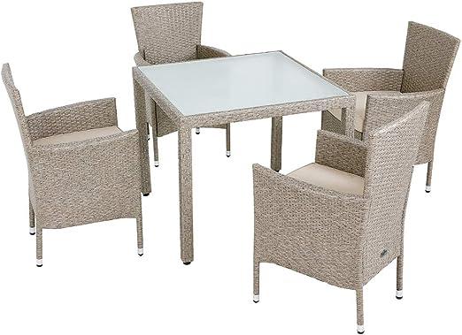 Deuba Conjunto de jardín de Poliratán Crema 4 sillas con cojínes y ...