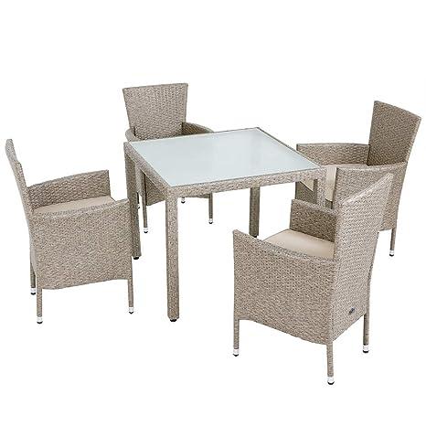 Deuba - Salon de Jardin en polyrotin Gris/Beige - 1 Table et ...
