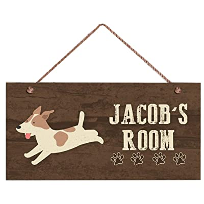 "INNAPER Puppy Dog Sign, Woodland Personalized Sign, Kid's Name, Kids Door Sign, Baby Nursery Wall Decor, 5"" x 10"" Sign: Home & Kitchen"
