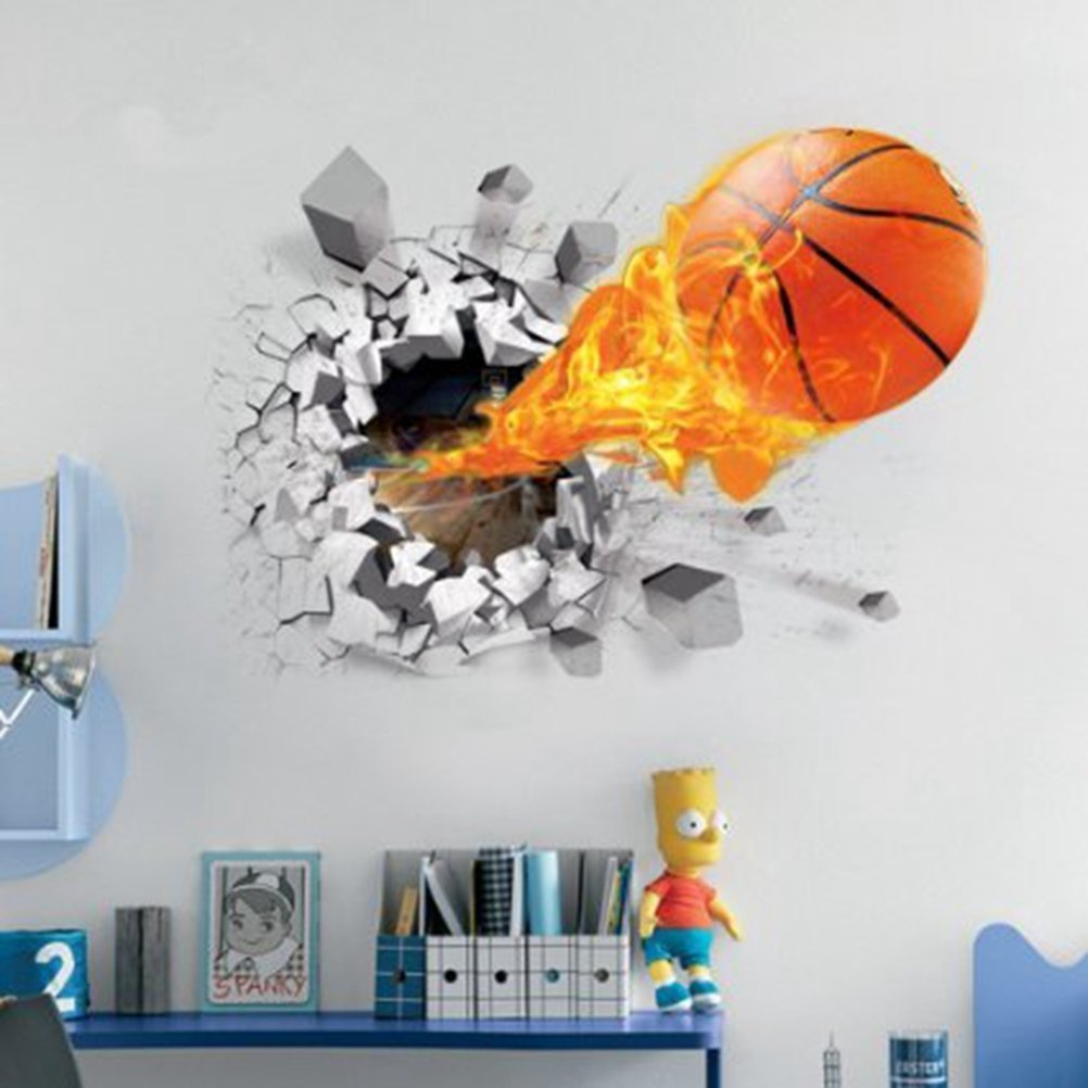 U-Shark 3D Self-Adhesive Removable Break Through The Wall Vinyl Wall Stickers/Murals Art Decals Decorator (Flying Fire Basketball (19.7'' X 27.6''))