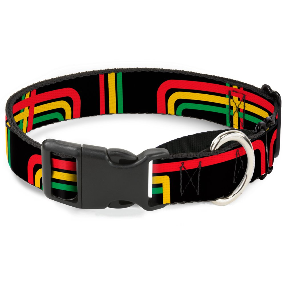 Buckle-Down MGC-W31367-M Maze Lines Black Rasta Martingale Dog Collar, Medium