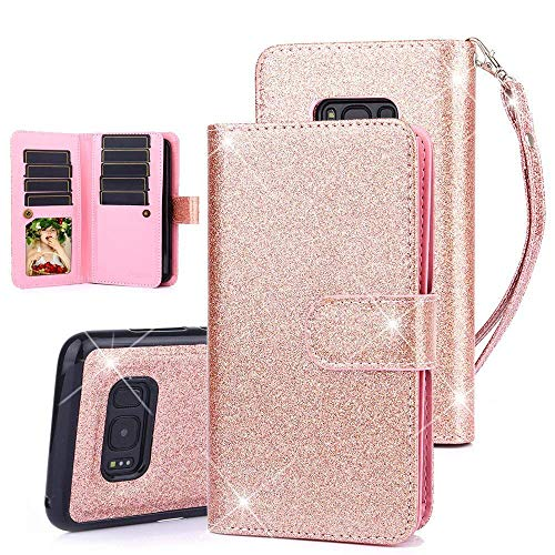 TabPow Galaxy S8 Case, 10 Card Slot - [ID Slot] Wallet Folio PU Leather Case Cover With Detachable Magnetic Hard Case For Samsung Galaxy S8 (2017) - Glitter Rose Gold