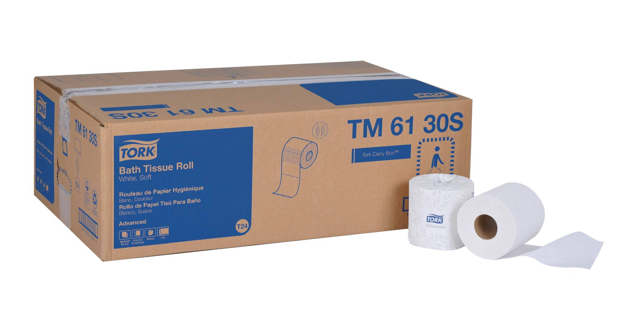 Tork Advanced TM6130S Bath Tissue Roll, 2-Ply, 4'' Width x 3.75'' Length, White (Case of 48 Rolls, 500 per Roll, 24,000 Sheets)