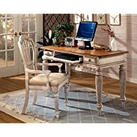 Hillsdale Furniture 4508D Wilshire 54 Wide Desk with 2 Small Drawers Keyboard Tray and Turned Legs in Antique White