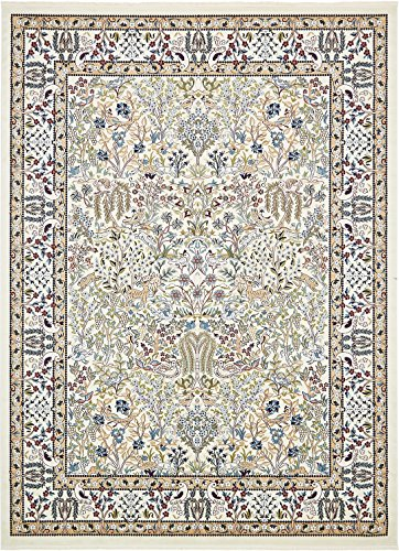Nain Collection Persian Isfahan Design Traditional Area Rug (10' x 13' FT) Ivory Living & Dinning room Décor