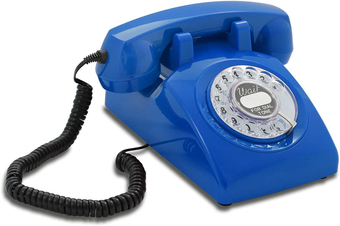 Opis 60s Cable with Classic United States Rotary Dial Inlay: Designer Retro Phone/Rotary Dial Telephone/Retro Style Phone/Vintage Telephone/Classic Desk Phone with Rotary Dialler (Blue)