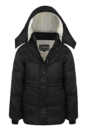 0dbf31d41093 New Girls Coat School Padded Hooded Jacket Age 3 4 6 8 9 10 12 Years ...