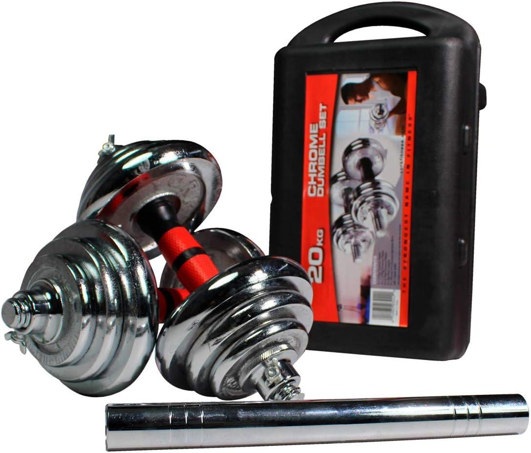 Riscko WONDUU De 15 a 50 Kg Mancuernas cromadas 2 en 1 con malet/ín de Almacenamiento | Peso 30 KG.