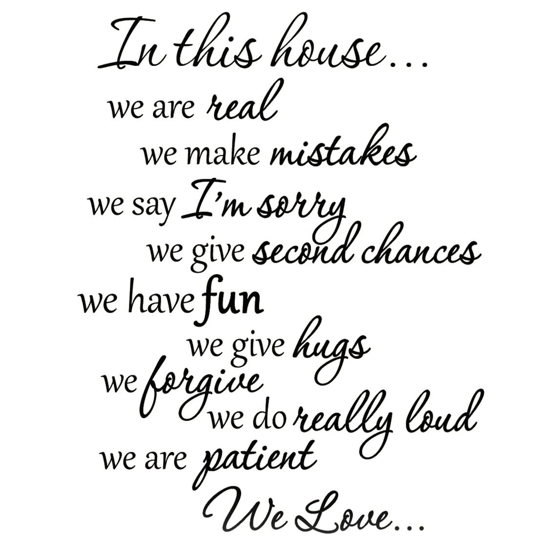 Amazon.com: VWAQ Vwaq 1924 In This House Decals Family Rules Quotes Sayings  Vinyl Wall Art Stickers: Home U0026 Kitchen