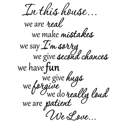 Amazon VWAQ VWAQ60 In This House Decals Family Rules Quotes Custom Quotes And Sayings