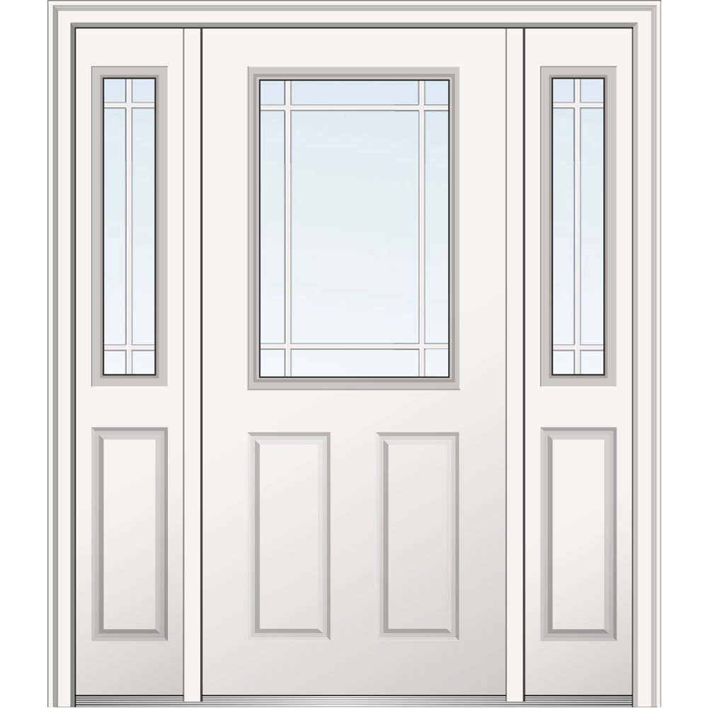National Door Company Z029287R Steel, , Right Hand In-swing, Exterior Prehung Door, Internal Grilles 1/2 Lite 2-Panel, 36''x80 with 14'' Sidelites