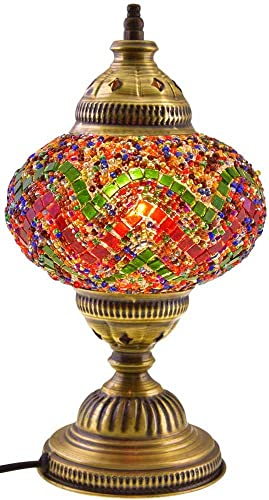 7 Globes Tiffany Floor Lamp Handmade Turkish Mosaic Glass Art Moroccan Lantern with Bulbs, 55 140 cm Height – 4.7 12 cm Diameter, Metal Body On Off Switch Pendant Arabian Tiffany Multi Art