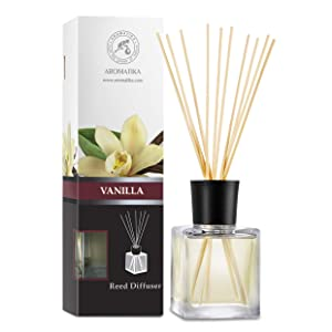 Reed Diffuser with Natural Essential Oil Vanilla 6.8 oz (200ml) - Scented Reed Diffuser - Non Alcohol - Gift Set with Bamboo Sticks - Best for Aromatherapy - SPA - Home - Office - Fitness Club …