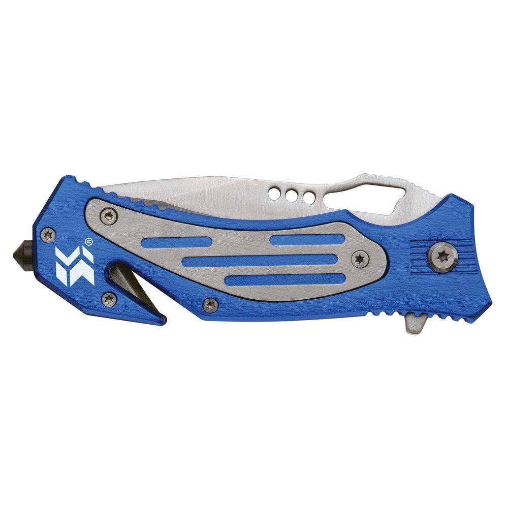 Swiss+Tech ST41100 Blue Folding Rescue Knife for Auto Safety, Emergency, Camping, Hunting