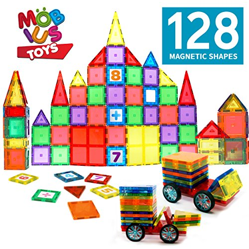 MOBIUS Toys Magnetic Tiles for Kids (128 Pieces)