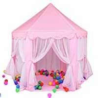 Kids Princess Castle Play House, GIM Girls Fairy Play Tents Large Hexagon Playhouse Outdoor Indoor for Toddler Boys Girls
