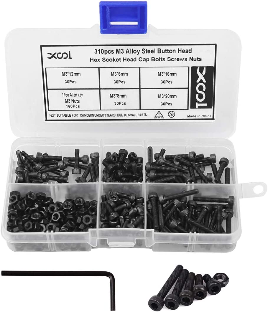 M3 Alloy Steel Hex Socket Head Cap Screws Nuts Assortment Kit, Allen Wrench Drive, Precise Metric Bolts and Nuts Set with Beautiful Assortment Tool Box for 3D Printed Project, 310 Pcs (Black)
