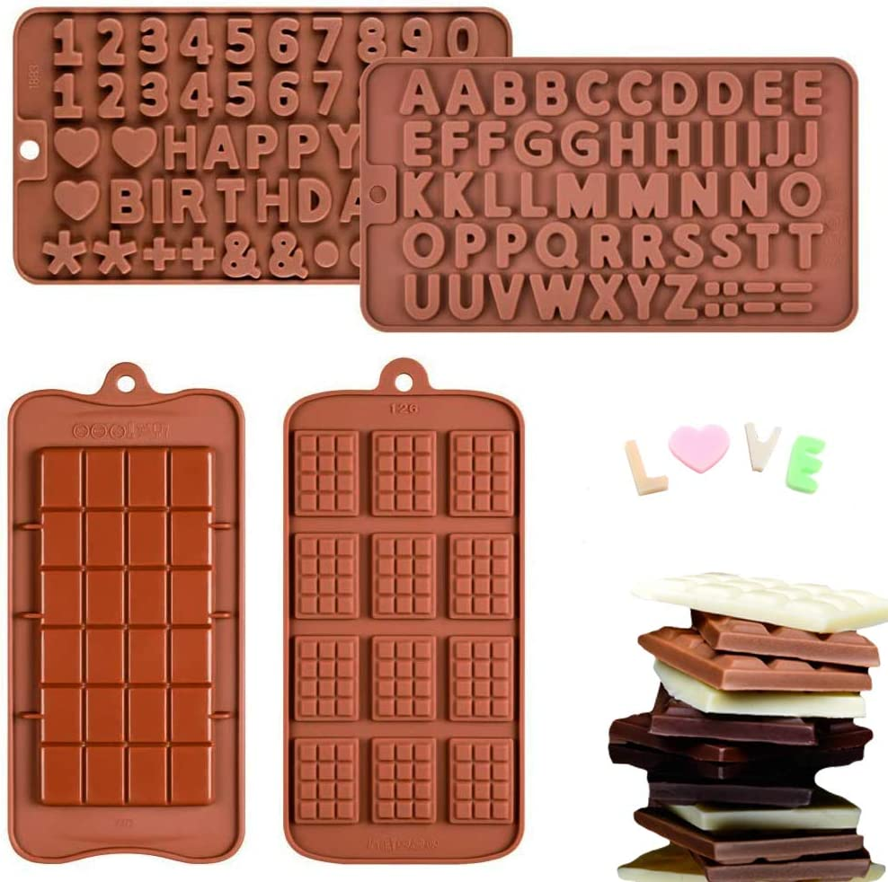 Chocolate Molds Silicone, Break-Apart | Letters | Happy Birthday/Numbers | Waffle Silicone Candy Molds, Food Grade Silicone Molds, Thin Mini Chocolate Tray(4Pack)