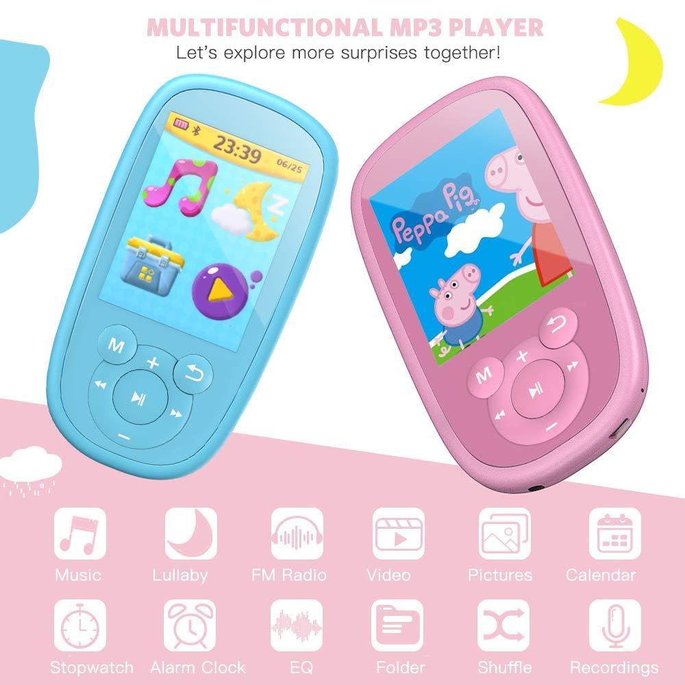 AGPTEK K2 Reproductor Mp3 Niños, Portátil MP3 Bluetooth con HD Pantalla de 2.4 Pulgada, Altavoz Interna y Radio, Rosa