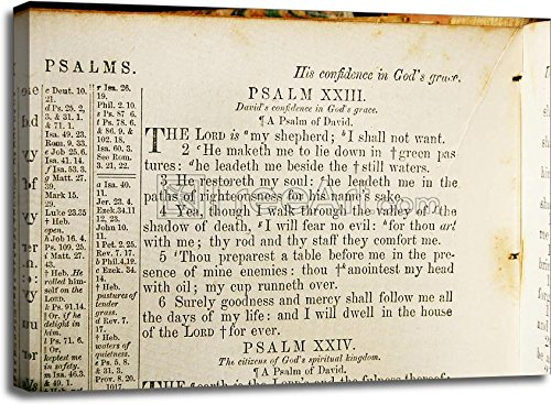 Psalm 23 From An Old Bible Gallery Wrapped Canvas Art (30in. x 40in.)