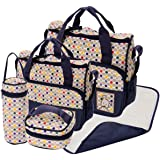 5pcs POLKA DOT Baby Nappy Changing Bags Set Diaper Hospital Bag (5pcs Navy Blue Polka Dot Bags)