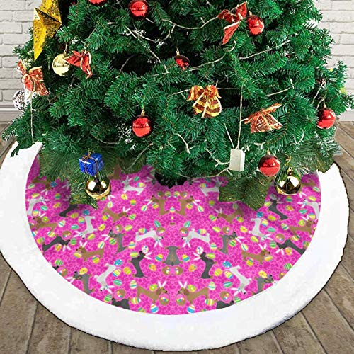 It's The Easter Dachshund Pink White Fluffy Christmas Tree Skir 48inches,The Perfect 3 Kinds of Size£