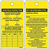 National Marker RPT180ST250 Tags, Scaffold Inspection This Scaffolding Has Been Constructed To Support, 6'' x 3'', Polytag, Box Of 250, Tag