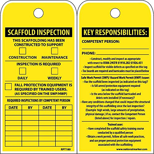 National Marker RPT180ST250 Tags, Scaffold Inspection This Scaffolding Has Been Constructed To Support, 6'' x 3'', Polytag, Box Of 250, Tag by National Marker